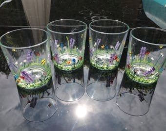 Wild flower meadow tumbler, hand paintedteacher, wedding, birthday, Christmas, mothers day