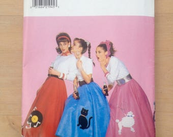 50's Poodle Skirt Costume Pattern Butterick 4114 Size 6-8-10-12 halloween costume party 50s