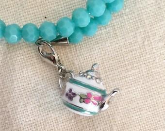 Teal Beaded Teapot Bracelet