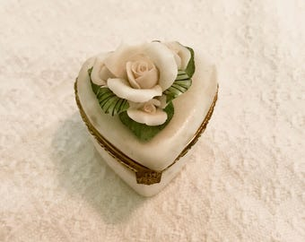 Vintage Cream Rose Trinket Box