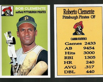 Roberto Clemente Pittsburgh Pirates 1954 Style Custom Made Baseball Card. Mint Condition. 3 3/4 x 2 5/8 Size
