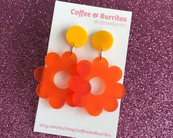 Frosted ~ Yellow and Orange Daisy Dangle Earrings