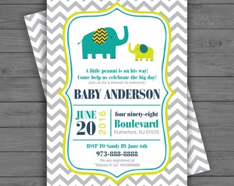 Elephant Baby Shower Invitation, Elephant Baby Shower - Gender Neutral