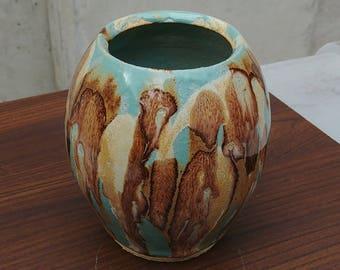 Ceramic Vase, Turquoise Brown