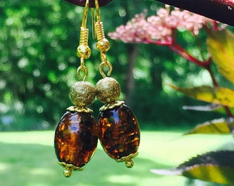 Gold and Brown Drop Earrings