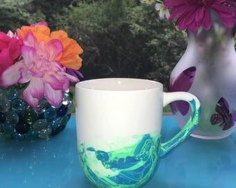 Blue and Green Marble Coffee Mug