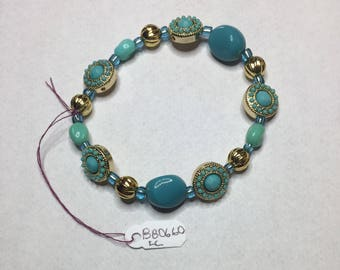 Gorgeous Turquoise and Gold Beaded Bracelet