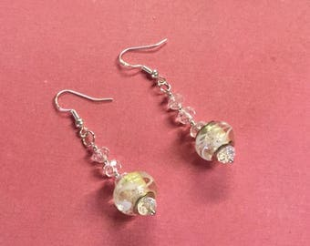Beautiful Crystal Earrings clear crystal, and beautiful pandora style beads ...