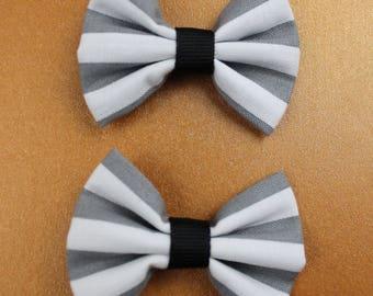 Stripes - Small Bow Hair Clips