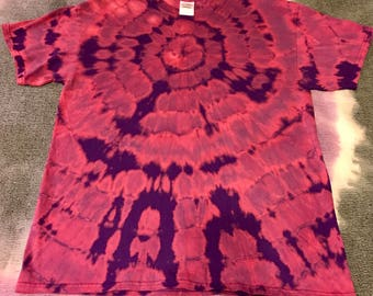 Purple & pink tie dyed cotton shirt size L