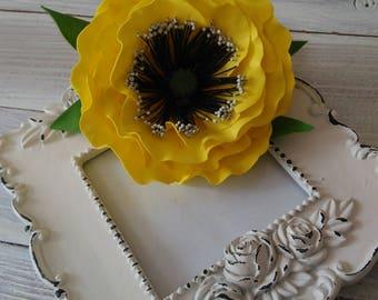 Yellow brooch-hairpin poppy Flower jewelry Birthday gift Yellow flower Gift women Yellow jewelry