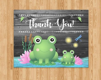Frog Baby Shower Thank You Card - Reclaimed Wood - Baby Frog Card - Boy Baby Shower Thank You - Froggy Themed Shower - Frog Party Favors