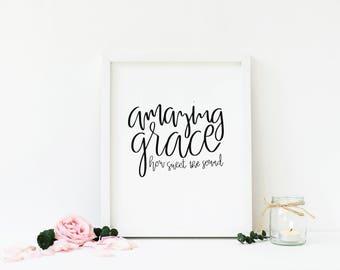 Amazing Grace | Minimalist Christian Art | Hymn Print | Song Lyrics | Black and White | Minimalistic | Calligraphy | Hand Lettering