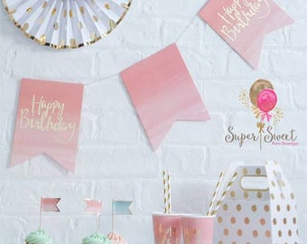 Pink and Gold Ombre Happy Birthday Bunting 3M