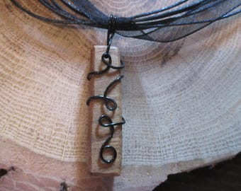 Wire wrapped wood necklace