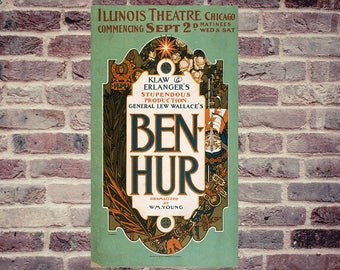 Beautiful vintage poster show Ben Hur Chicago Illinois Theater, printing ink on paper archival matte 140g, great retro effect.