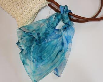 delicate silk foulard hand dyed with the arashi shibori technique/blue/stole/scarf/100%silk 24x24 in