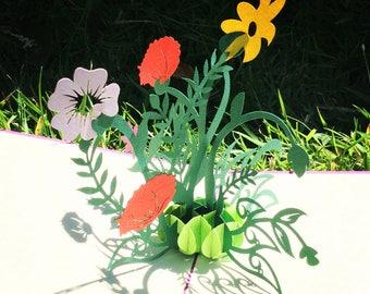 Flowers pop up card - Wild Flowers Pop Up Card - Thank-you Pop Up Card - Pop Up Card For Her
