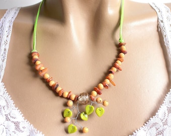 Summer green and orange spring necklace jewelry
