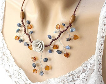 Topaz and blue flowers romantic necklace