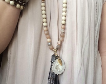 Sandalwood & Gemstone Necklace with Antler
