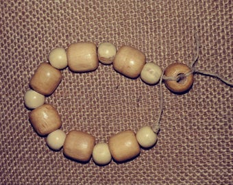 Wood Bead and Hemp bracelet