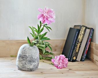 Test tube Flower Vase Bud Vase in Felt Stone for Modern Scandinavian Home Decor: Table Centerpiece, Office Decor by Felt Interior Design