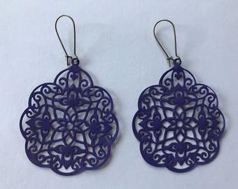 Painted Lightweight Filigree Earrings - 2 x 2 inch