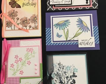 Floral Greeting Cards (Set of 5) Group F