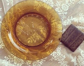 "Large L.E. Smith Herotage Vintage Amber Glass American Eagle Ashtray 9 1/2"""
