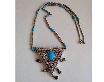 Tuareg Silver Necklace. Berber necklace silver and turquoise; Ethnic jewelry; Antique Jewelry; Collectibles.