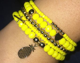 Yellow Stack of Bracelets