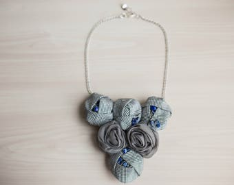 Gray Statement Bib Necklace Minimalist Necklace Rosette Statement Necklace Fabric Necklace Fabric Jewelry Textile Necklace Vintage Necklace