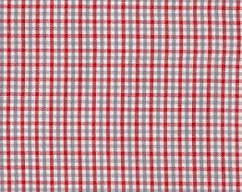 Red and Gray Tri-Check Fabric by Fabric Finders - 100% Cotton