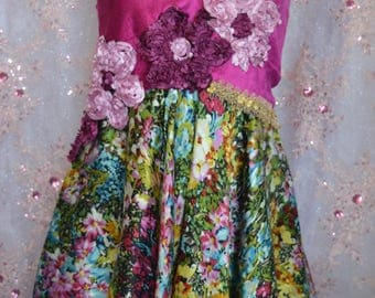 Deep pink floral handkerchief dress
