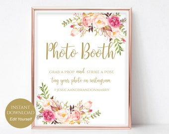 Photo Booth Sign Printable Photo Booth Props Wedding Photobooth Wedding Hashtag Internet PDF Instant Download 8x10, 5x7, 4x6 Pastel Blooms