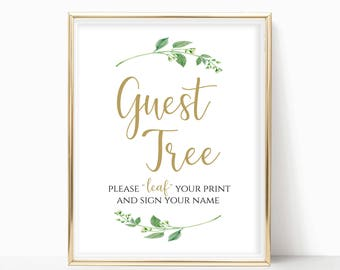Printable Guest Tree Sign Please Leaf Your Name Guest Book Alternative Wedding Guest Book Sign Instant Download 8x10, 5x7, 4x6 Jasmine