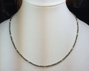 Faceted Pyrite Sterling Silver Necklace