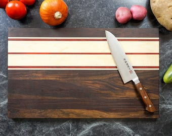Large Handmade Wood Cutting Board with Handles Serving Tray •  Walnut  • Anniversary Gift Christmas Gift Cutting Boards
