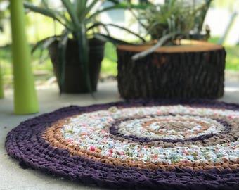 36 inch Floral/Purple Crocheted Round Rag Rug