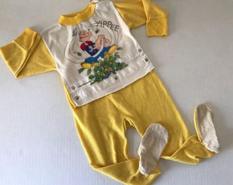 Vintage footed Popeyes pajamas size 3T