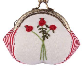 Handmade Coin Purse 8.5CM Rose Needlework Red Stripe