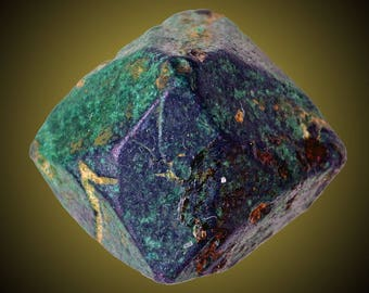 Cuprite altering to Malachite; Chessy-les-Mines, Rhône, France  --- minerals and crystals
