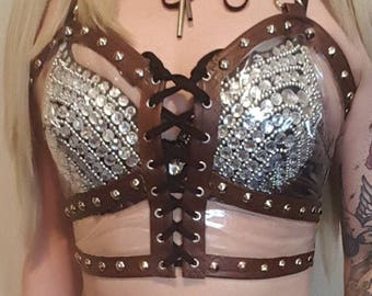 Clear vinyl and tan faux leather crop top.Alternative/rock/heavy metal UK size 8-10-12