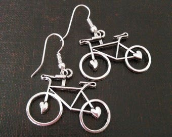 Silver bicycle earrings