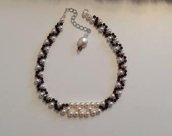 Swarovski,Pearl,crystal, beaded choker necklace