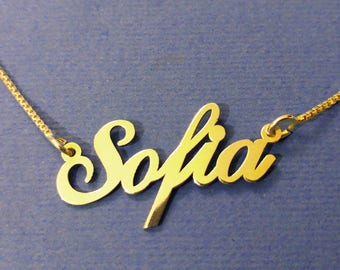 gold chain with name on it name tag chain name chain 14k dummy chain with name chain with my name chain with name plate custom Sofia chain