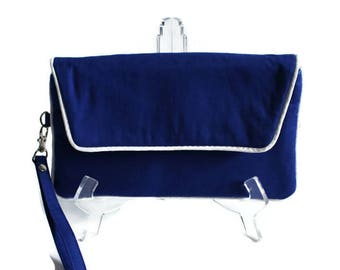 Blue and White Wristlet -
