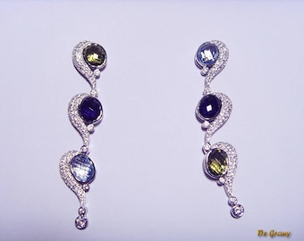 Earrings for a dress from silver and nanocrystals. A gift for a woman. Exclusive design. (Can be executed in gold with precious stones)
