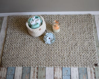 Kitchen rug, bath mat, chunky crocheted, creamy oatmeal, cabin, camper, nursery, kitchen, bathroom ***can be customized